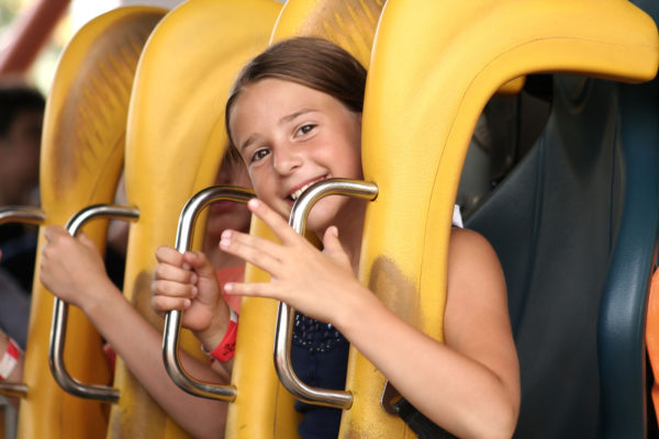 girl on roller coaster